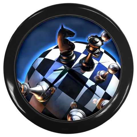 Chess World Fantasy Game Pieces Globe Wall Clock