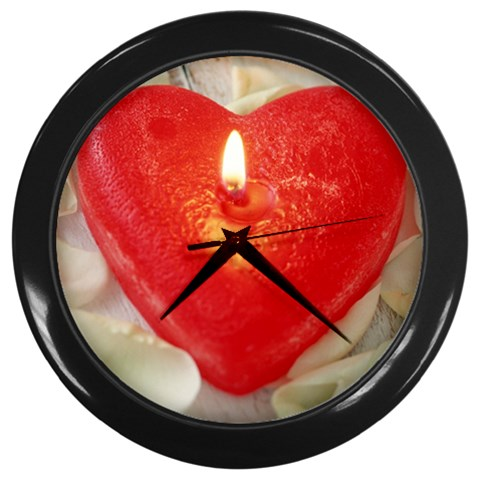 Red Heart Candle Romantic Love Anniversary Wall Clock